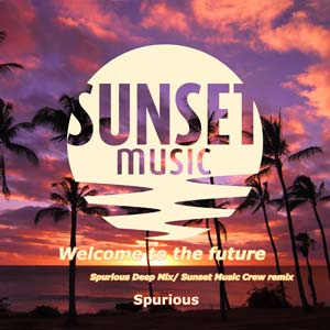 The cover of the chill out song Welcome to the future by Spurious on Sunset Music