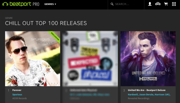 The chill out album Forever by Spurious on #1 in the Beatport Top 100 charts with Hardwell on position 3